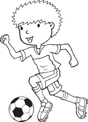 Papiers peints Cartoon draw Boy Child Soccer Player Vector Illustration Art