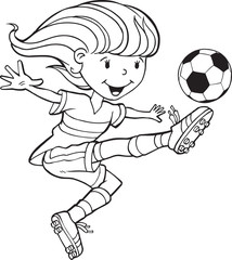 Poster Cartoon draw Girl Child Soccer Player Vector Illustration Art