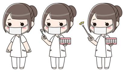 歯科衛生士の女性 マスク(セット)