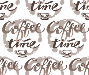 Coffe time - lettering pattern