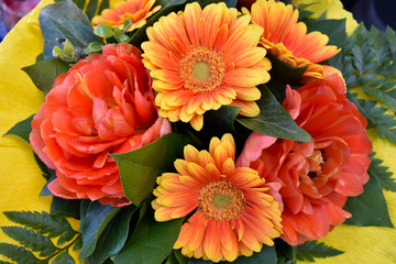 Orange gerbera bouquet stock images. Beautiful orange gerbera daisy. Orange bouquet mix