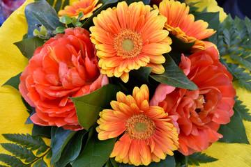 Orange gerbera bouquet stock images. Beautiful orange gerbera daisy. Orange bouquet mix