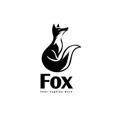 Elegant sitting fox ready logo
