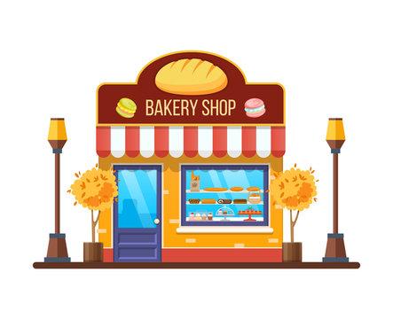 Autumn modern city bakery shop building facade, store.
