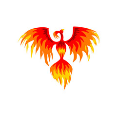 Phoenix, flaming mythical firebird vector Illustration on a white background