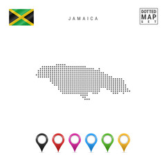 Vector Dotted Map of Jamaica. Simple Silhouette of Jamaica. National Flag of Jamaica. Set of Multicolored Map Markers