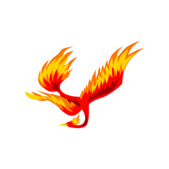 Phoenix, flaming fairytale firebird flying vector Illustration on a white background