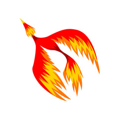 Mythical phoenix flaming bird flying vector Illustration on a white background