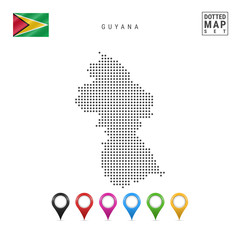 Vector Dotted Map of Guyana. Simple Silhouette of Guyana. The National Flag of Guyana. Set of Multicolored Map Markers