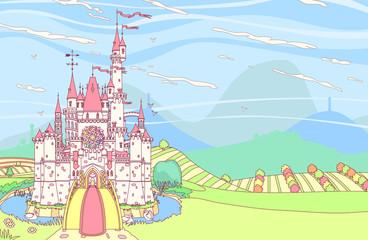 vector Wonderland royal panoramic сastle fortress