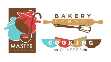 Cooking or bakery chef school vector icons