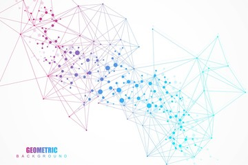 Structure molecule and communication. Dna, atom, neurons. Abstract polygonal structure with connecting dots and lines. Medical, technology, chemistry, science background. Vector illustration.