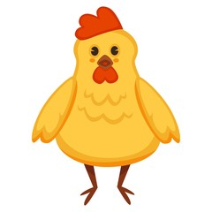 Vector cartoon chicken or yellow chick
