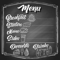Hand drawn menu sketches with custom brush lettering, on black chalkboard background. Vintage vector restaurant design.