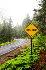 Congestion sign on a forest highway