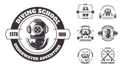 Diving school underwater adventure promo monochrome emblems set