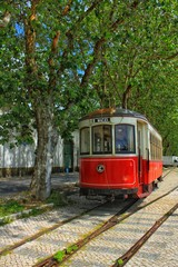 Colorful tram through the streets of Sintra, Lisbon in Spring