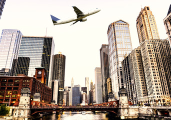 Airplane flying over Chicago, Illinois