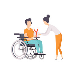 Young woman giving a present to man in wheelchair, disabled person enjoying full life vector Illustration on a white background