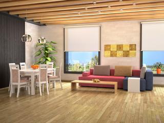 Interior design studio apartments. 3d illustration