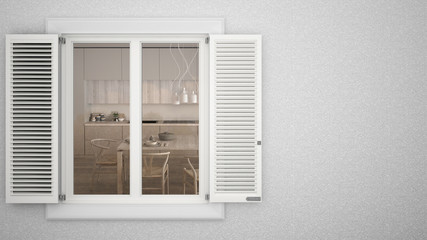 Exterior plaster wall with white window with shutters, showing interior classic kitchen with table, blank background with copy space, architecture design concept