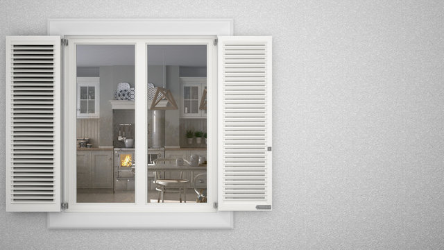 Exterior plaster wall with white window with shutters, showing interior scandinavian kitchen, blank background with copy space, architecture design concept