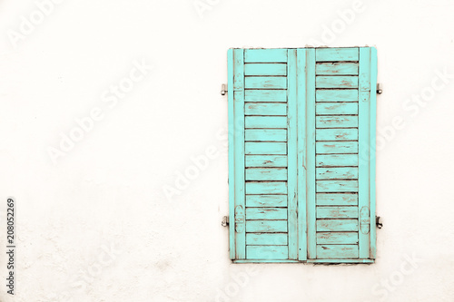 Rustic Old Grungy And Weathered Green Cyan Wooden Closed
