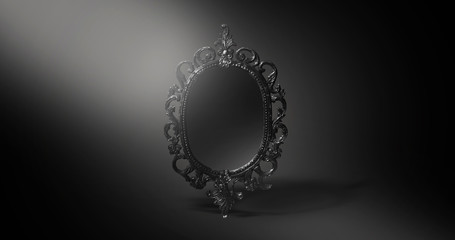 Mirror magical, fortune telling and fulfillment of desires. Dark background with rays of sun.