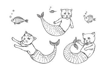Mermaid cats collection and funny fishes, hand drawn outline doodle sketch, black and white vector illustration