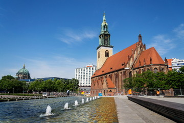 St. Marys Church, Marienkirche on Karl-Liebknecht-Strasse near Alexanderplatz in central Berlin, Germany