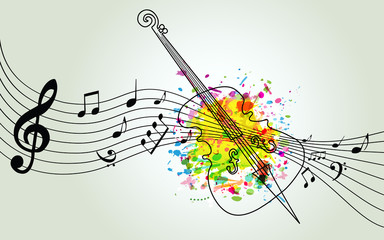 Music colorful background with music notes and violoncello vector illustration design. Music festival poster, creative cello design with music staff