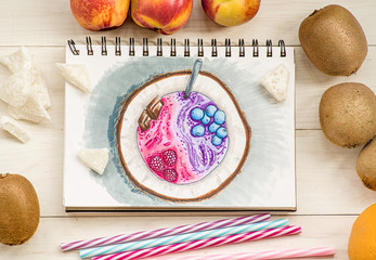 a bright coconut hand-drawn illustration made with markers decorated with fruits and coconut pieces on white wooden background