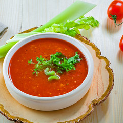 Delicious Spanish gazpacho. Delicious vegan soup on a table.