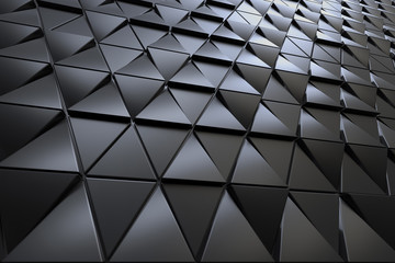 Abstract 3D minimalistic geometrical background of black triangles