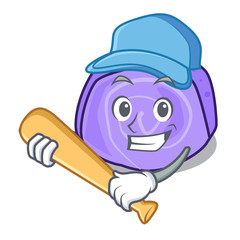 Playing baseball blueberry roll cake character cartoon