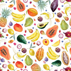 Watercolor exotic fruits vector pattern