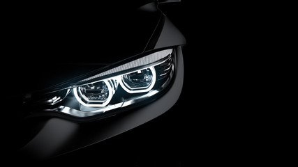 headlights of black sports car on black background, photorealistic 3d render, generic design, non-branded Wall mural