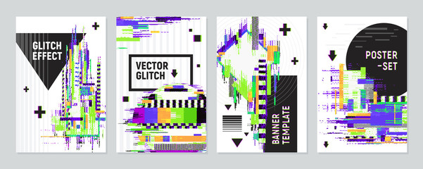 Posters Set With Glitch Effect