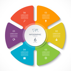 Infographic circle chart. Vector cycle diagram with 6 options. Can be used for graph, presentation, report, step options, web design.