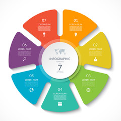 Infographic circle chart. Vector cycle diagram with 7 options. Can be used for graph, presentation, report, step options, web design.