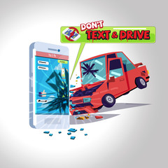 car hitting smartphone while texting message. text don't drive concept - vector