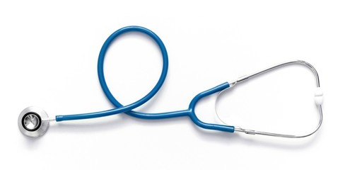 Blue stethoscope isolated on white background. Flat lay, top view, copy space