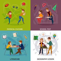 School Students Cartoon Design Concept