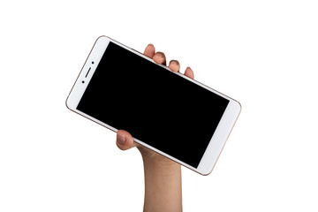 Child holding a smartphone with one hand