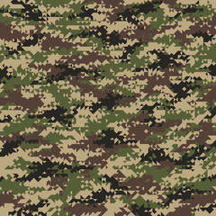 Triangular Shaped Seamless Woodland Camouflage Pattern. Abstract Vector Background