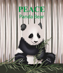 Cute panda bear Vector. Lovely animal eating grass. Peace concept