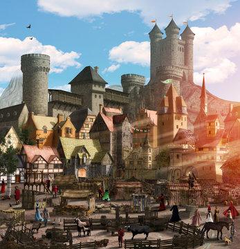 Enchanting Medieval Fantasy Town Marketplace