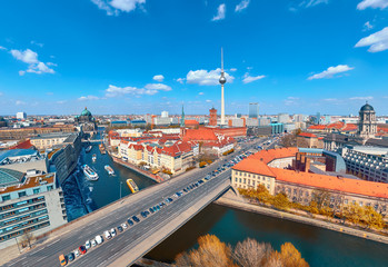Aerial view of central Berlin on a bright day in Autumn, including river Spree and television tower