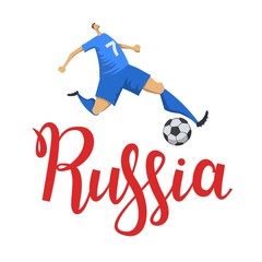 Football in Russia. Player kicking a ball on Russia lettering background. Flat vector illustration. Isolated on white background