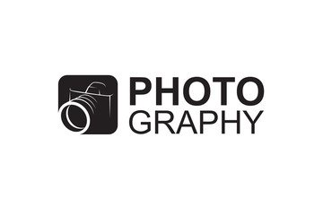 abstract black photography camera icon on white background